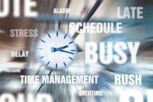 nuage de mot sur le temps et le management